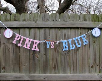 Gender Reveal - Baseball Gender Reveal - Pink vs Blue Baseball - Baby Reveal Photo Prop - Boy Or Girl Banner - Pink Or Blue Banner