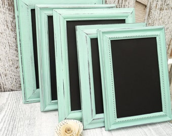 Shabby Chic 5 x 7 Framed Chalkboards in Mint, Table Number Chalkboards, Event Chalkboards, Shower Chalkboards