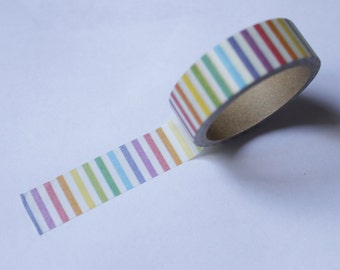 Tape-Washi Tape-Masking Tape-Single Roll-  Colorful rainbow line