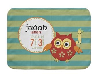 Personalized Baby Blanket, Boys Aqua Striped Owl, Custom Receiving Blanket, Baby Stats Blanket, Woodland Baby, Birth Announcement Blanket