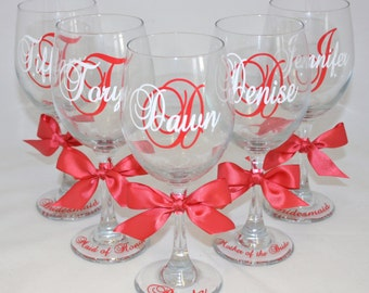 7 Personalized Bride and Bridesmaid Wine Glasses