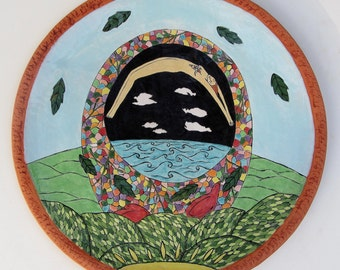 ceramic art ;wall art; handpainted ceramics plate;