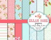 50% OFF Shabby Chic Digital Paper - Ellah Rose digital paper set - vintage shabby chic, roses, floral, damask