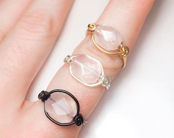 Healing Rose Quartz Ring - Heart Chakra - Silver - Gold - Faceted Nugget - Unique - Made to Order