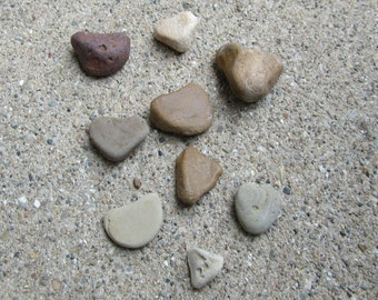 Lot of 9 Natural Stone Hearts Lake Michigan Craft Supplies