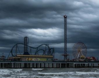 Galveston's Historic Pleasure Pier, Stormy Seas, fine art photo, waterscape, signed by me