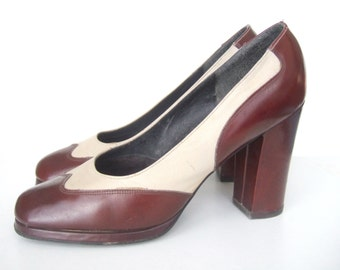 UK 6.5 1970s Brown and cream leather spectator platform shoes EU 39.5 US 8.5