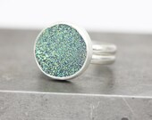 Sparkling Druzy Ring in Sterling Silver, Green, Statement, Cocktail Ring, Size 7.5