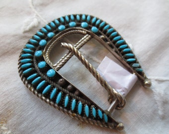 ZUNI Needlepoint TURQUOISE & Sterling Belt BUCKLE