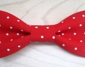 Newborn, Infant/Toddler, Youth bowties - Red pin dot polka dot bowtie, wedding birthday photo prop father son sibling Christmas ring bearer
