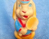 Vintage kitsch puppy dog playing tennis squeaky squeak toy