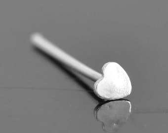 Nose Ring, Heart, sterling silver, nose stud, nose piercing, nose jewelry, body jewelry