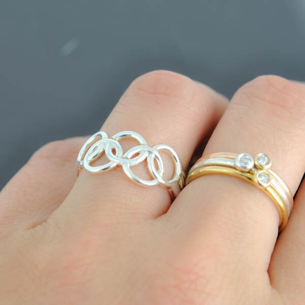 Olympic Ring 10K Yellow Gold Ring Custom Made Olympic
