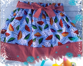 Girls rainy day umbrella  blue an red cotton skirt, back to school