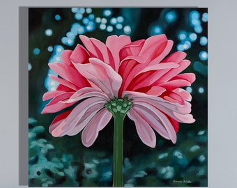 Pink Daisy Fine Art Canvas Print of Oil Painting- The Secret Place- Beautiful  Flower Wall Art- Custom Sizes Available