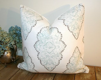 Blue and White Medallion Pillow Cover  / Choose Size  / Monroe Slub Snowy fabric