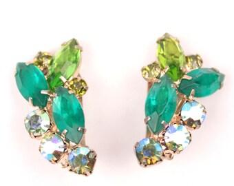 vintage rhinestone earrings // clip on