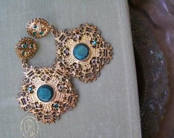 70s Boho Bold Earrings Vintage, Gold Green Filigree Earrings, Big Stud Dangle Earrings, Long Mod Kitsch Earrings, Hippie Gypsy Jewelry