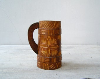 Soviet Wood Beer Mug Engraved,  Wooden Beer Cup, Vintage Rustic Folk Art,  Man Cave Barware Decor, Pencil Holder Desk Organizer Aztec Style