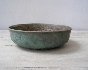 Kulesi Copper Bowl Planter, Verdigris Patina Hammered out Turkish Tower Handmade Artisan Bowl, Collectible Ottoman Mediterranean Home Decor