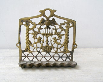 Antique Morocan Hanukkah Menorah, Wall Hanging Candelabra, Collectible Jewish Holidays Home Decor, Vintage Israel Judaica Bronze Oil Menorah