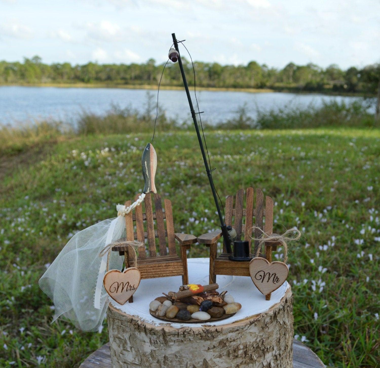 Fishing Wedding Ideas: Fishing-lake House-cabin-themed-wedding-cake Topper-fishing