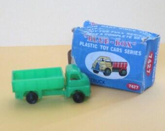 "Dump Truck ""Blue-Box"" Series #7424, Vintage, 1950's, Original Box, Miniature, Green Plastic Truck, Blue Box"