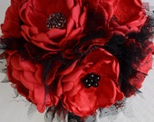 Fabric Bouquet - Red and Black Fabric Flower Bouquet - Heirloom Bouquet, Forever Bouquet, Fabric Bouquet, Fabric Flowers, Vintage Style