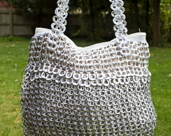Horizontal and Vertical Silver Upcycled Crochet Pop Tab Bag