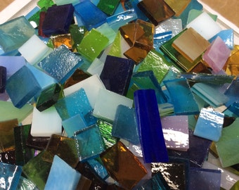 100 MOSAIC #2  GRAB BAG Bonanza!  Stained Glass Mosaic Tiles Mix Size & Color