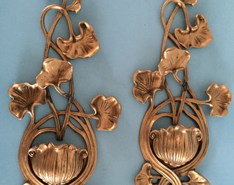 Pair of Vintage brass lotus candle holders sconces