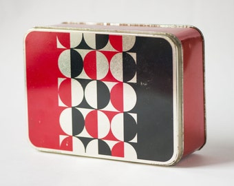 Modern tin box, red black circles can, box Soviet rectangle, tin container photos storage, tin home décor