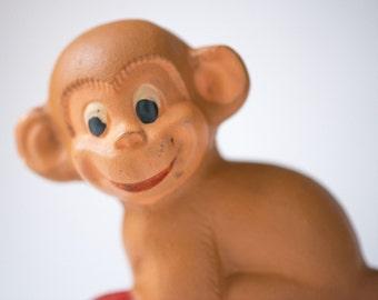Monkey toy rubber, Soviet ape with red ball toy, vintage monkey bath toy, retro toy kids of 60s monkey