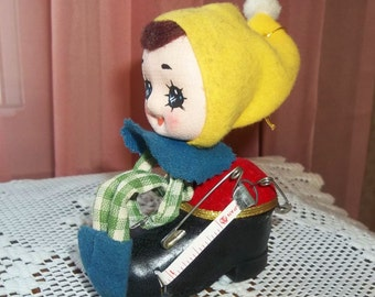 Knee Hugger Elf Pixie Tape Measure and Pin Cushion Christmas Ornament Vintage Doll