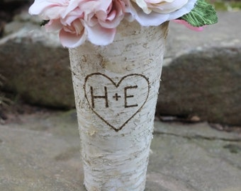 Birch Vase Personalized Flower Pot Pail