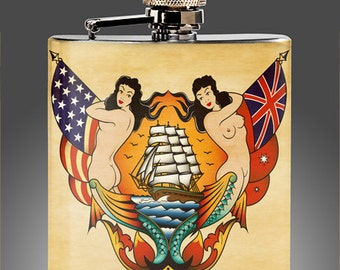 Sailor Jerry Style Tattoo Flash Flask, Traditional  Tattoo art Whiskey Flasks, retro tattoo  Birthday Gift Stainless Steel Liquor Hip Flask
