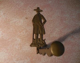 Vintage Brass Wall Mount Folding Valet Clothes Hanger