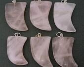 5pcs Natural Rose Quartz Pendant- Tumbled Rose Quartz Horn Pendant with Silver Plated Bail -Bulk Lot Of 5- (S50B3-04)