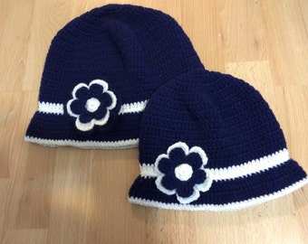 Mommy and Me Cloche Navy Hat With Brim And Flower