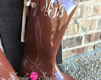 Ladies Monogram Brown Rubber Boots, rain boots with bow or without, monogram rain boots with bow or without