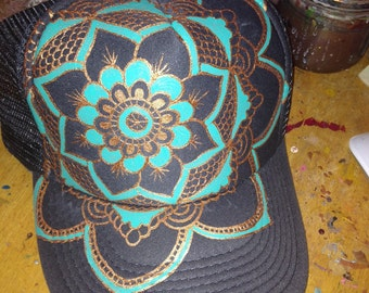 Slate grey trucker with hand painted full sized lotus. Goldy/turq