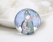 10mm 12mm 14mm 16mm 18mm 20mm 25mm 30mm Handmade Round Glass Cute Girl Photo Cabochons Image Glass Cover (P2597)