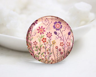 10mm 12mm 14mm 16mm 18mm 20mm 25mm 30mm Handmade Round Photo Glass Cabochons Cover-Flower (P1290)