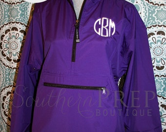 Half-Zip Monogram Rain Jacket - Windbreaker - Rain Jacket - Embroidery