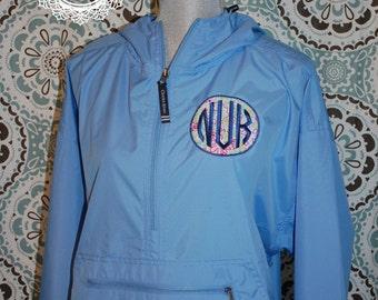 Applique Monogram Half-Zip RainJacket - Windbreaker Style - Custom Embroidery