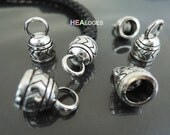4pcs Antique Silver End Cap 7mm - Finding Silver Leather Cord Ends Cap For Round Leathers 17mm x 11mm ( inside 7mm Diameter )