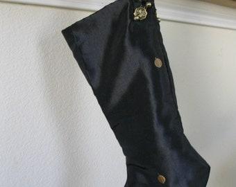 Christmas stocking   Victorian Christmas stocking    Black Polkadot Christmas stocking   Hand made in USA   Man Christmas stpcking