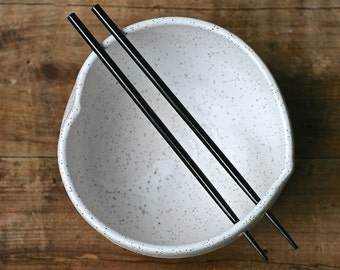Handmade chopstick bowl, heart shaped, black speckle, rustic minimal kitchen, rice bowl, ramen, udon, salad.