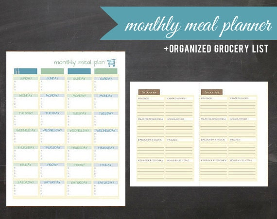 Monthly Meal Plan Kit. Printable Calendar & Grocery List
