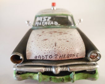 Scale Model Rusted RatRod Police Car in Black and White by Classicwrecks